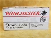 Winchester 9mm 115gr FMJ Ammo - 50 Rounds